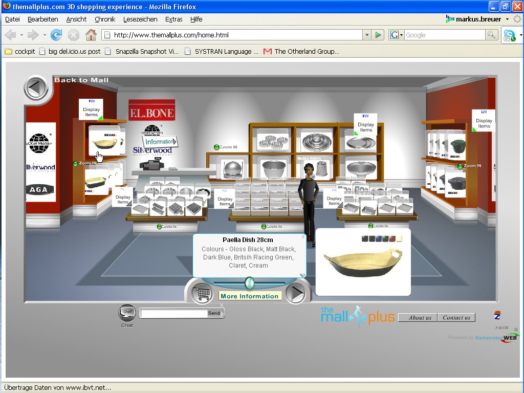 To support shops in a 3d online environment kinset and themallplus